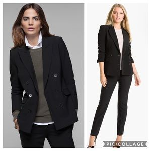 Theory Gilda double breasted wool blend blazer